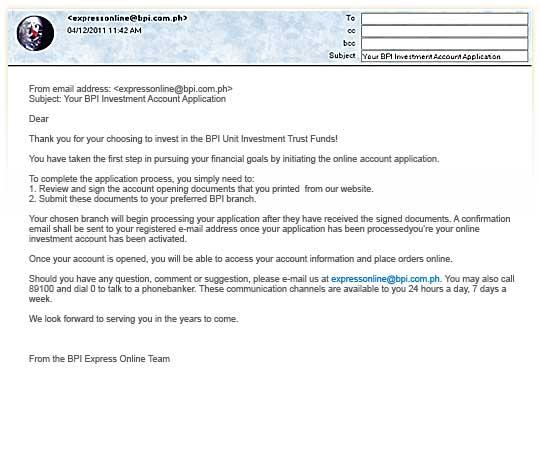 how to apply for a bpi investment fund via bpi expressonline